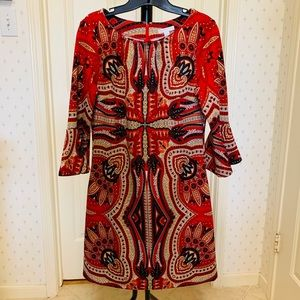 Paisley print dress with bell sleeves